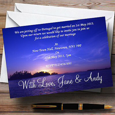 Beautiful Blue Purple Sunset Beach Personalised Evening Reception Invitations
