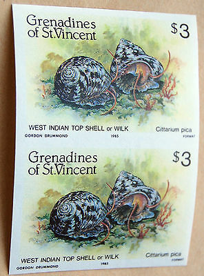 Shell Fish $3 West Indian Shell St Vincent 1985 Imperforate Pair Of Stamps MNH