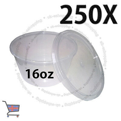 250 Round Food Containers Plastic Clear Storage Tup with Lids Deli 16oz 120x64mm