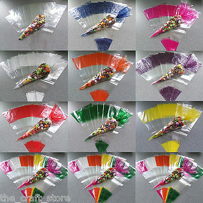 Large Cellophane Cone Party Bags - Sweet Bags - Favours - With Silver Twist Ties