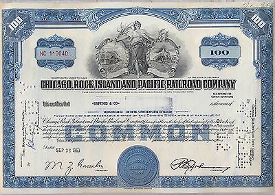Chicago Rock Island & Pacific Railroad Company Stock Certificate Blue