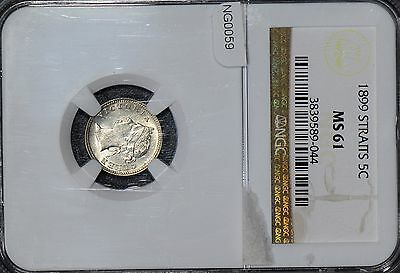 NG0059 Straits Settlements  1899 5 Cents NGC MS61  combine shipping