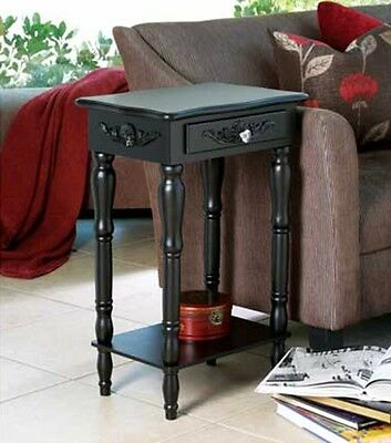 Black Bed Side Table Nightstand Wall Bath Table Drawer Carved Antique Style New