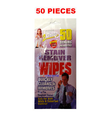 50 x STAIN REMOVER WIPES - QUICKLY CLEANS & REMOVES TOUGH STAINS MULTI SURFACE