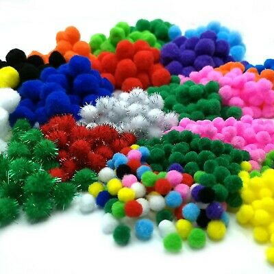 Craft Pom Poms - Packs of 25 to 500 Fluffy Pompom Balls in 10 colours & 3 sizes