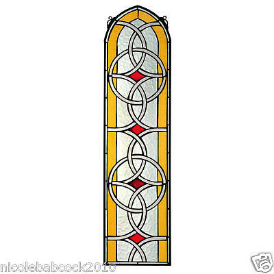 """35"""" Vintage Style Knotwork Elegant Arched Stained Glass Window"""