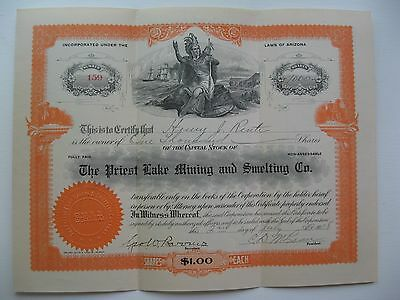 Vintage Stock Certificate Priest Lake Mining & Smelting Co 1908-1914 shares vary