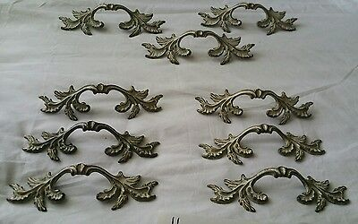 French provincial pulls Brass Leaf Shaped Drawer Dresser Handles antique   Bsk