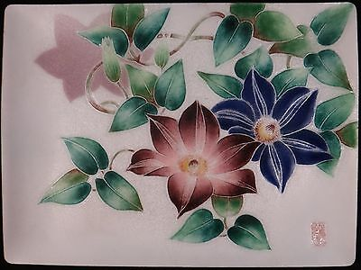 """Vintage Japanese Silver Wired & Wireless Cloisonné tray. Artist signed,  9""""x7"""""""