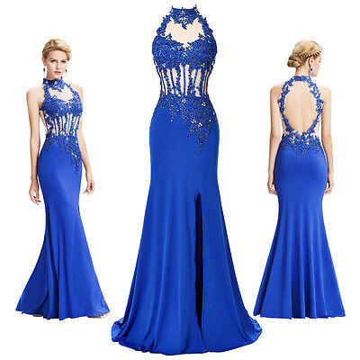 Mermaid Lace Long Formal Evening Gown Ball Party Cocktail Prom Bridesmaid Dress