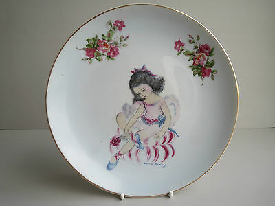 Brownie Downing Large Plate, Wall Plaque, 20cm Across, Girl Dancer, Roses
