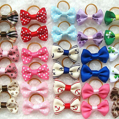 20 Pcs Random Grooming Accessories Dog Cat Hair Clips Hair Flower Bows For Dogs