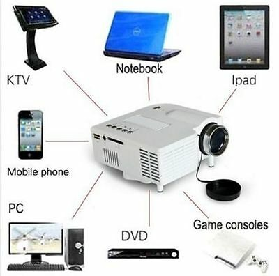 Mini Inicio Cine Teatro 1080P HD Multimedia USB LED Proyector de TV AV VGA HDMI