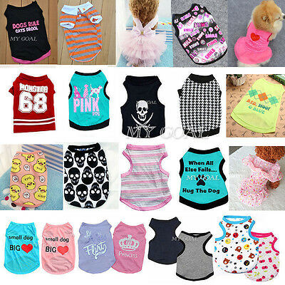 Pet Puppy Small Dog Cat Pet Summer Clothes Vest T Shirt Dress Apparel Various