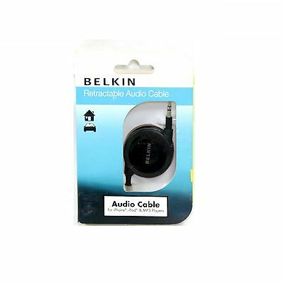 Belkin Cable Audio Aux 3.5Mm To 3.5Mm Retractable For Speaker Black New F3S0042