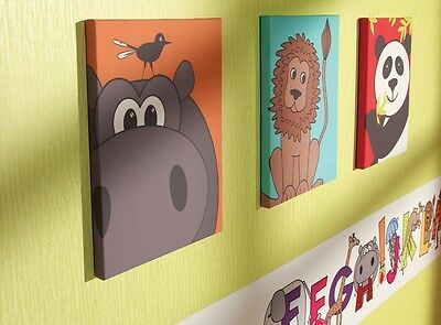 Animal Childrens Kids Bedroom Nursery Canvas Wall Art Pictures Set of 3