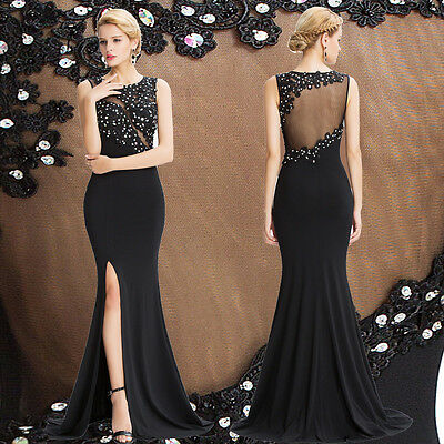 BLACK Long Bridesmaid Formal Evening Prom Dress BEADED Party Cocktail Ball Gown