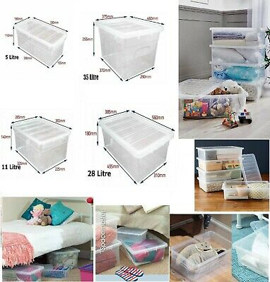 Stackable Clear Plastic Storage Box Boxes With Lids Home Office Strong UK Made