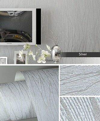 10M Wall Paper Non-woven Roll 3D Lines Flocking Waves Textured Wallpaper