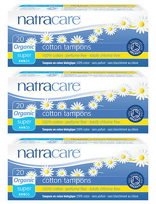Natracare Super Natural Organic Cotton Non-Applicator Tampons. 3 Packs of 20