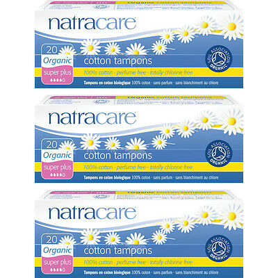Natracare Natural Organic Cotton Super Plus Non-Applicator Tampons 3 Packs of 20