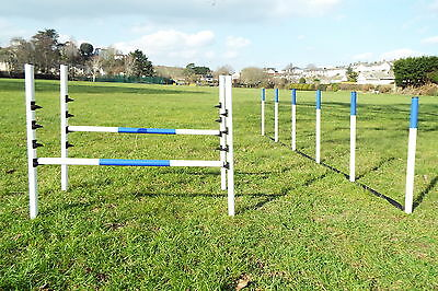 Dog Agility Equipment Set 2 Maintenance Free Jumps + 6 Weaves