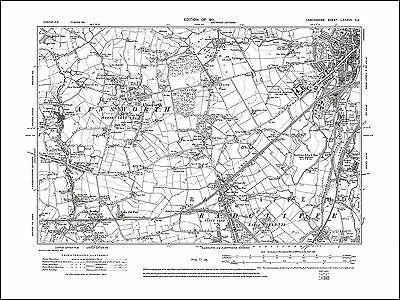 Old map of Ainsworth, Radcliffe (N), Bury (W), Lancs 1911: 87SE repro