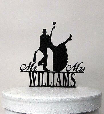 Personalized Wedding Cake Topper - Drunk Bride! with Mr & Mrs your last name