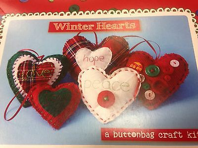Buttonbag Winter Hearts MYO fabric button sewing kit 6+ xmas decorations crafts