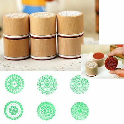 6 pcs Wood Rubber Stamp Lot Floral Stylish Pattern Scrapbook Cool Assorted c