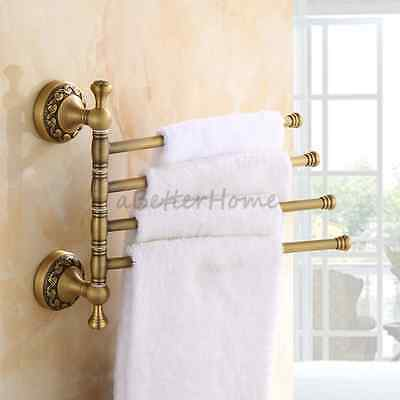 Bathroom Swivel Towel Bar Holder Antique Flower Carved Wall Mounted Swing Rack