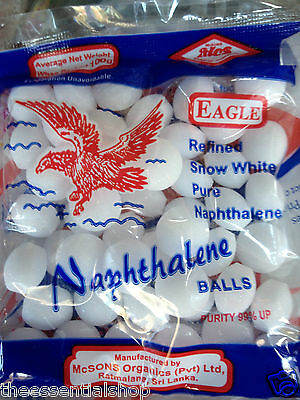 Mothballs Naphthalene 100 balls 200g moths cockroach possums 100%POSITIVE-SELLER