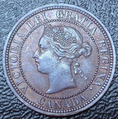 OLD CANADIAN COIN 1882 H - ONE CENT - LARGE CENT - Victoria - Double punched N