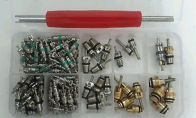 135 pcs Assortment A/C Shrader Valve Core R134 kit of 11 kinds of AC valves HVAC