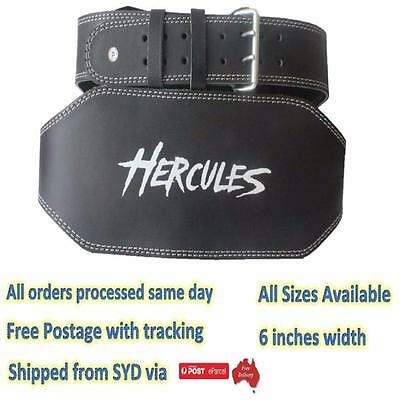 Weightlifting Power Gym Leather Belt Back Support Heavy Duty Black Steel Buckle
