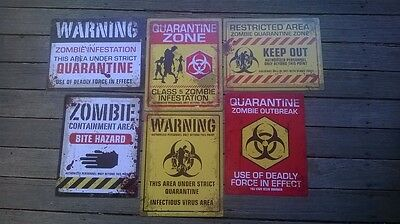 Zombie Warning Signs 6 Designs Halloween Posters Outbreak