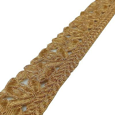 Decorative Gold Cut Work Embroidered Sari Border 5.08 Cm Wide Trim By The Yard