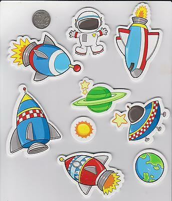 1 packet  of 10 Large Foam Stickkers Space Mix.  Scrapebooking , card makeing