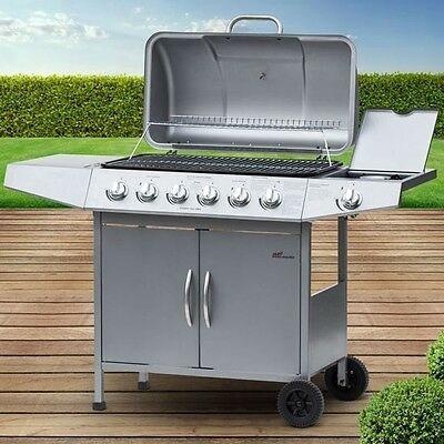 Gas BBQ Grill Burner Outdoor Garden Barbeque Stainless Steel Cooker Patio 6+1
