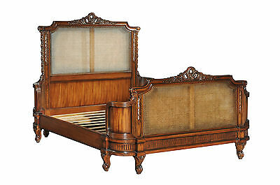 Solid Mahogany Antoinette French Caned Bed 5' King Size CFR0009 NEW