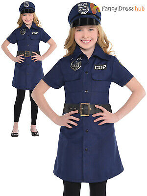 Girls Police Fancy Dress Childs Cop Policewoman Costume WPC Book Week Outfit