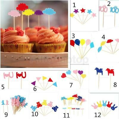 50x Cup Cake Flags Toppers Picks Kuchen Party Picks Ver. Mustern