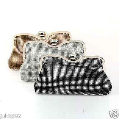 Ladies Sliver Gold Diamante Charming Evening Clutch Bag Purse Party Prom Wedding
