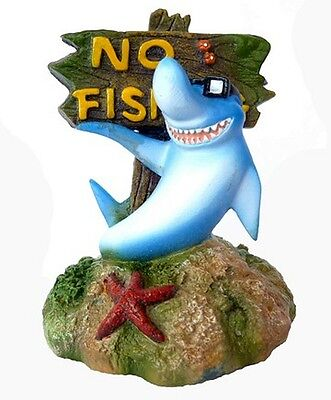 "Cartoon Shark with ""No Fishing"" Sign Aquarium Ornament Goldfish Bowl Decoration"