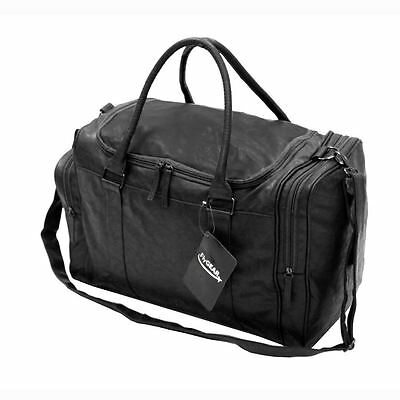 Faux Leather Sports Gym Travel Golf Holdall Luggage Duffle Weekend Bag Black