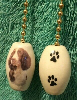 One English Springer Spaniel Dog Fan Pull With Paw Prints On The Back 1""
