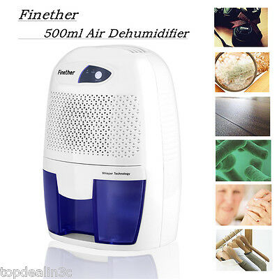 Portable Air Dehumidifier Damp Mould Moisture Home Bathroom Kitchen Car 500ML