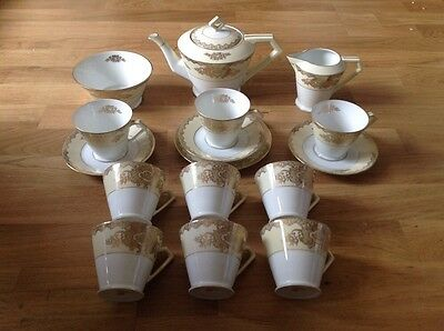 16 Piece Art Deco Noritake Tea Set Pale Yellow White & Gold Gilding.