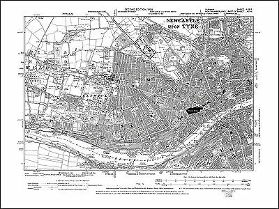 Newcastle upon Tyne SW, Elswick, old map Northumberland 1899: part97 repro