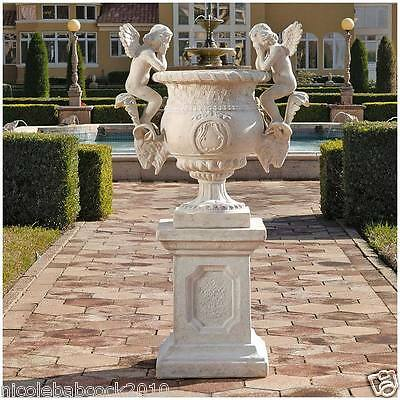 Architectural French Chateau Estate Size Urn Sculpture Angels & Plinth - 126 Lbs